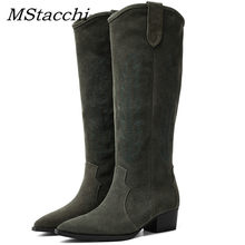 MStacchi Women Runway Genuine Leather Knee High Boots Women Cowboy Europan Western Boots Ladies Pointed Toe Casual Shoes Woman(China)