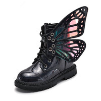 Girls short boots leather shoes 2019 new princess butterfly boots children's shoes foreign plus cotton two Martin boots winter