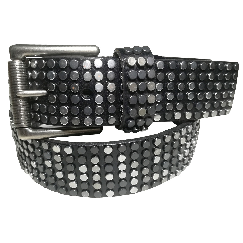 Punk Rock Star Retro Silver and Black Studded Mixed Vegetable Tanned Leather All Jeans Matched Belt image