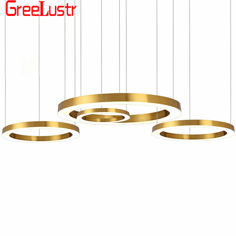 Luxury Large Ring Copper LED Pendant Lamp Chandelier Modern Big Circle Hanging Light Fixtures lamp For Living Room Hotel Hall