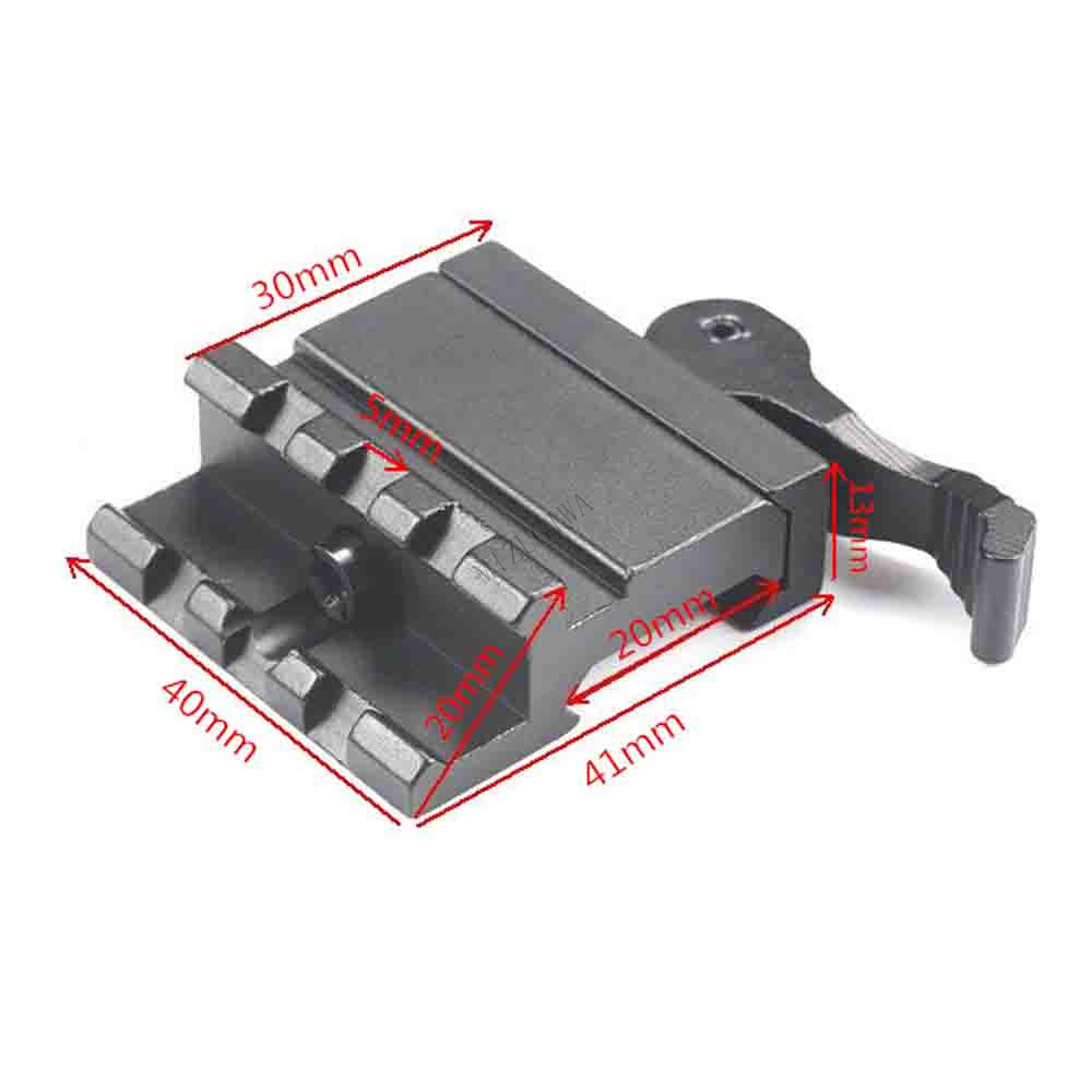 MIZUGIWA Tactical Double Rail 45 Degree Angle Picatinny Riser Mount Quick Release Level Lock Detach Red Dots