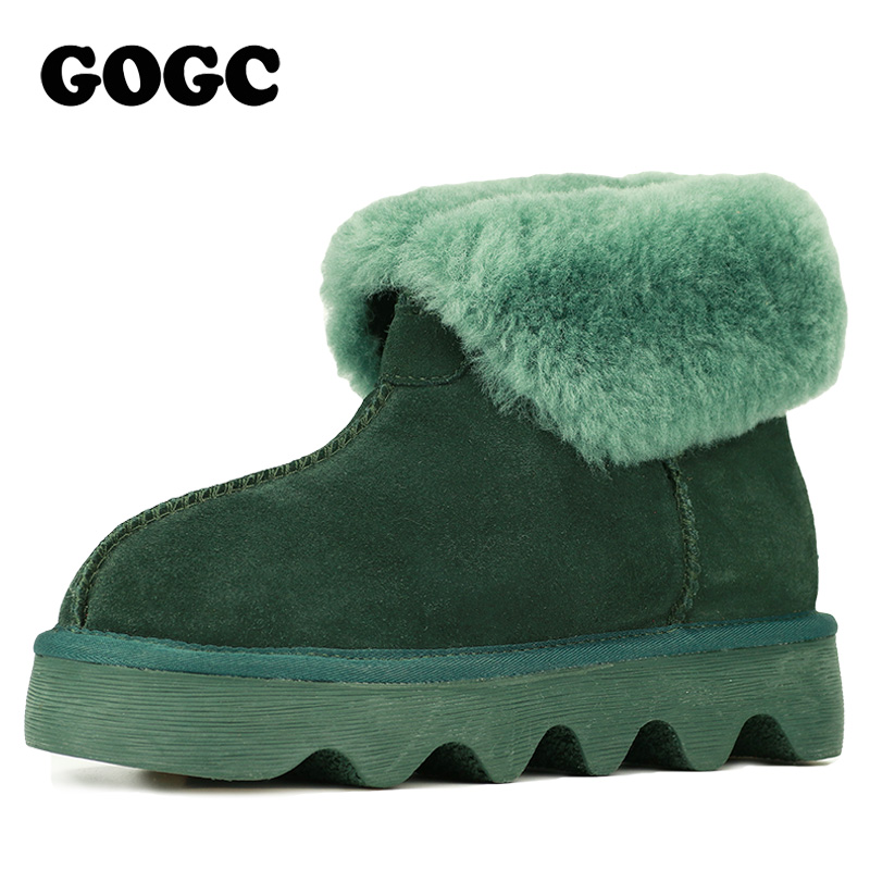 GOGC 2018 Snowshoes Women's Winter Boots with Wool Warmful Fur Lined Ankle Boots for Women Genuine Leather Winter Shoes 9727 - 3