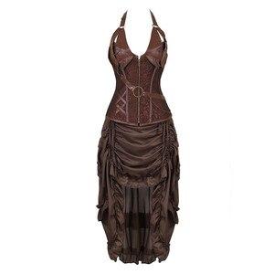 Image 1 - Steampunk Corset Dresss disfraz de Halloween pirata Cosplay para mujer, corsés góticos Bustiers con falda burlesca Set de talla grande