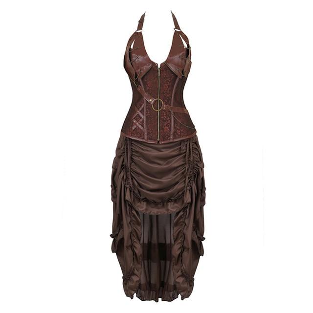 Steampunk Corset Dresss disfraz de Halloween pirata Cosplay para mujer, corsés góticos Bustiers con falda burlesca Set de talla grande
