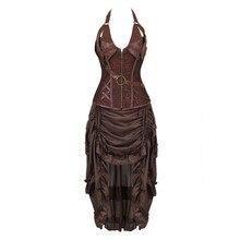 Steampunk 코르셋 드레스 할로윈 해적 코스프레 의상 여성을위한 고딕 코르셋 bustiers burlesque 치마 세트 플러스 크기