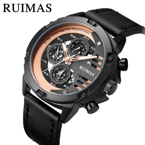 Relógio de Couro Inoxidável Marca Superior Esporte Preto Militar Relógio Pulso Movimento Quartzo Reloj Hombre Luxo Presente Aço