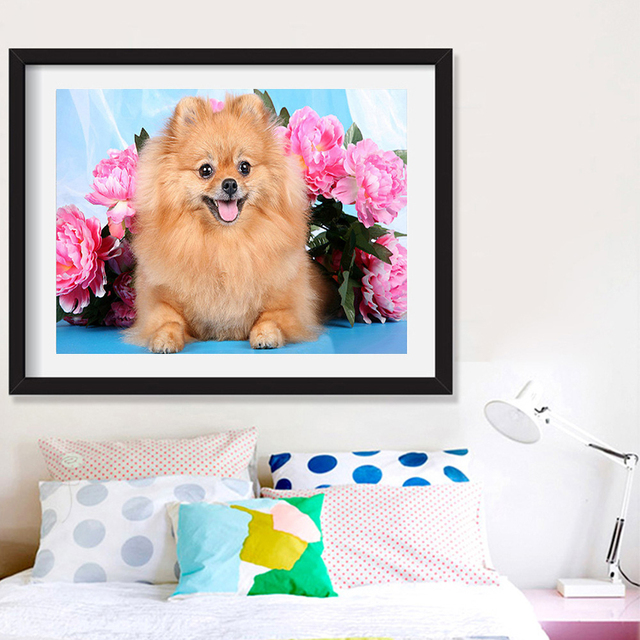Huacan 5d Diamond Painting Kit Dog Full Square Round Drill Diamond Embroidery Animal Mosaic Flower DIY