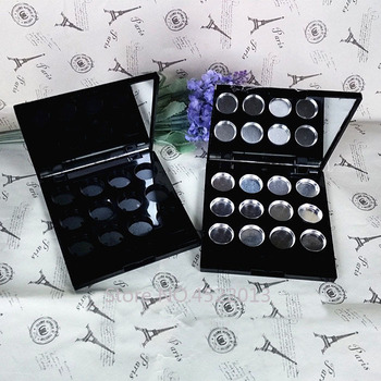8pcs/lot 12grids Plastic Square Eyeshadow Powder Container n Mirror, Black Lipstick Refillable Storage Case,Blusher Sub Compacts