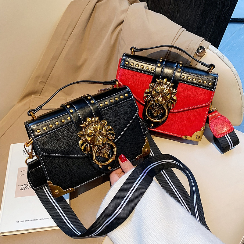 Hf6046a09318d49f09b8dfc3236d37eecl - Female Fashion Handbags Popular Girls Crossbody Bags Totes Woman Metal Lion Head  Shoulder Purse Mini Square Messenger Bag