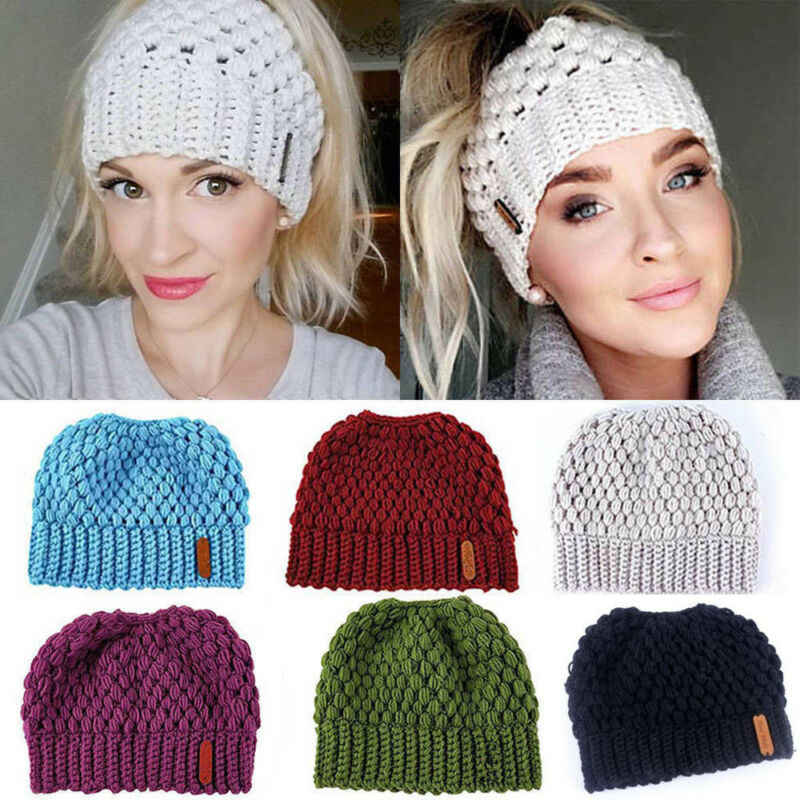 Brand Fashion Women Beanie Ponytail Hat Lady Beanie Tail Messy Soft  Bun Knitted Cap Skull Stretchy Winter Warm Hats Accessories