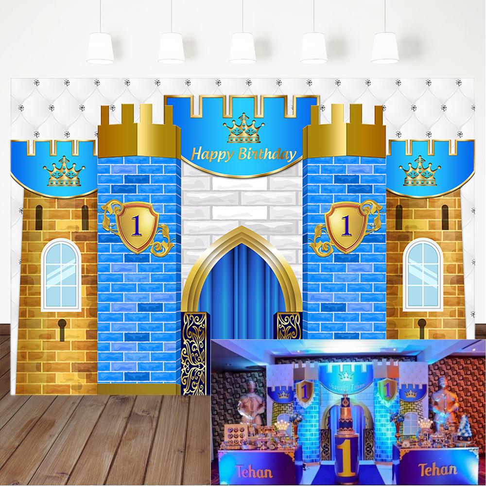 Happy 1st Birthday Backdrop Royal Blue Castle Decorations Photography Background Little Prince First Birthday Banner Backdrops Background Aliexpress