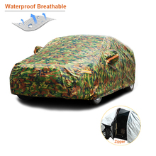 Kayme waterproof camouflage car covers outdoor sun protection cover for car reflector dust rain snow protective suv sedan full cheap 520cm Polyester Universal uvprotection waterproof dustproof snowproofstop 1 5kg 180cm 150cm Spring summer autumn winter