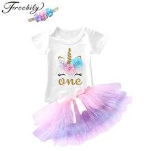 1 год, платье единорога для девочки на день рождения, цветок, новорожденная принцесса, косплей костюм, 12 месяцев, платье для крестины, торт, ра...