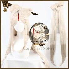 Ningguang cosplay genshin impacto peruca 120cm longo gradual bege 8-shaped arco resistente ao calor do cabelo halloween jogo role play
