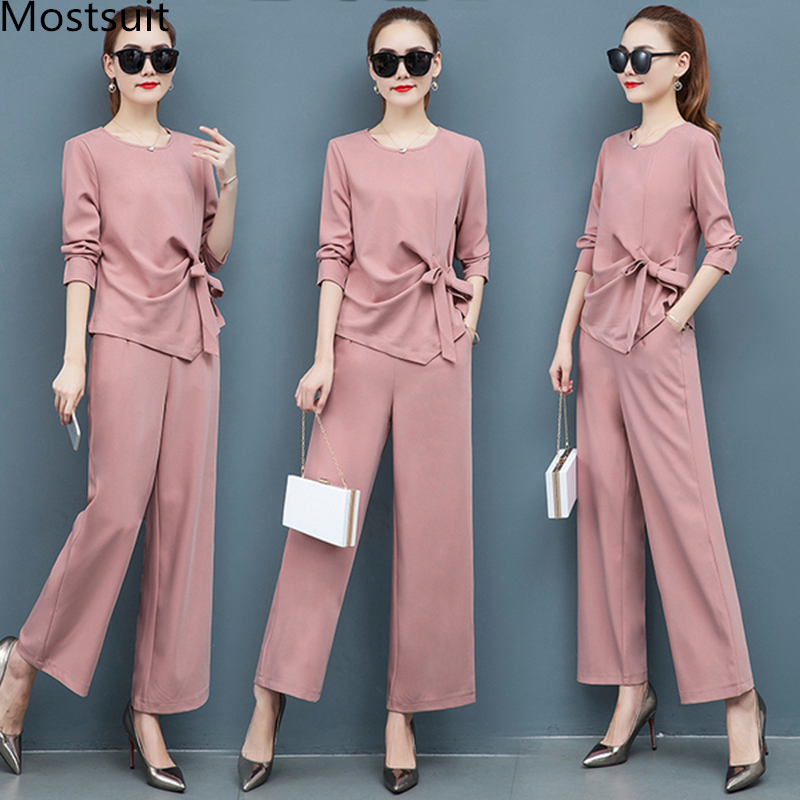 2019 Autumn Elegant Two Piece Sets Outfits Women Plus Size Long Sleeve Bow Tops And Wide Leg Pants Suits Office Korean Sets Pink
