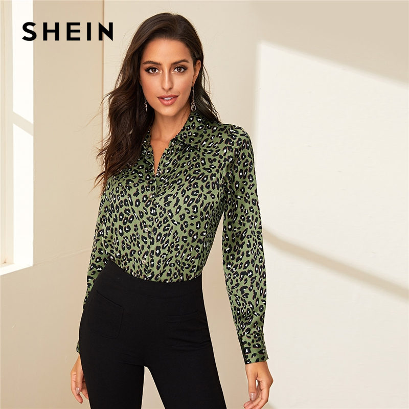 SHEIN Green Turn Down Collar Leopard Print Casual Blouse Women Top 2019 Autumn Long Sleeve Button Front Curved Hem Blouse Shirts
