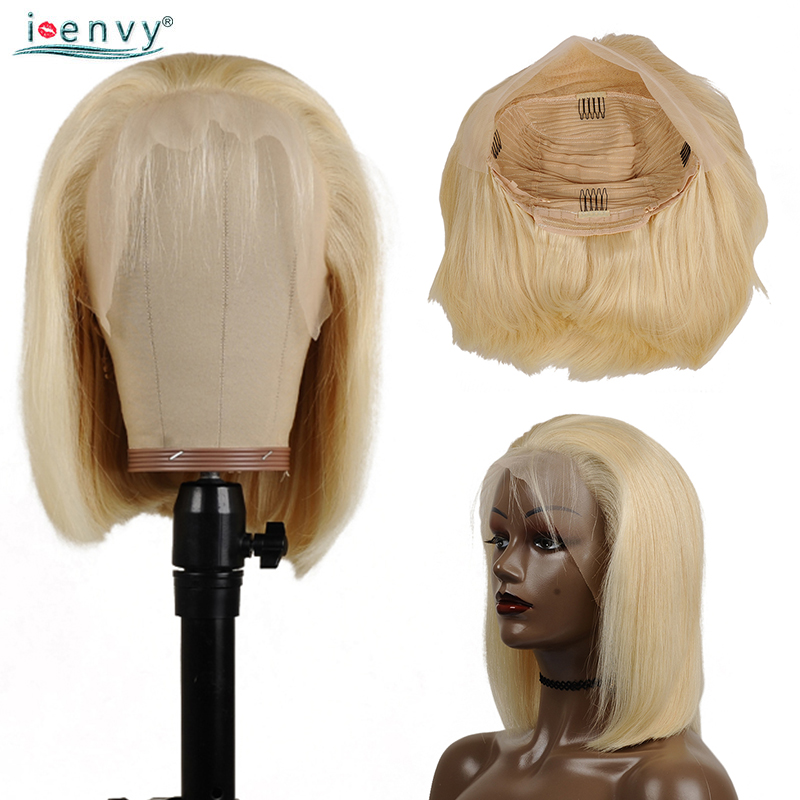 613 Honey Blonde Lace Front Wig Brazilian Straight 13X4 Lace Front Human Hair Wigs Pre Plucked Remy Short Bob Wigs Black Women