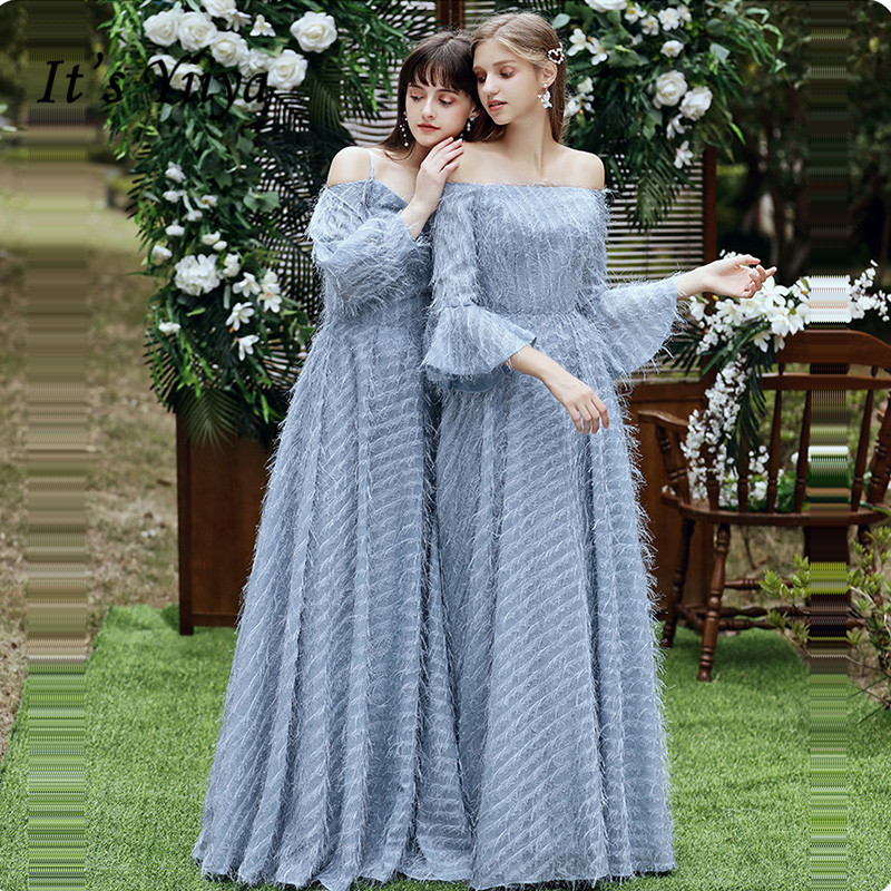 It's Yiiya Bridesmaid Dress Boat Neck Blue Feathers Long Bridesmaid Dresses For Girls Elegant Party Vestido Madrinha LF233