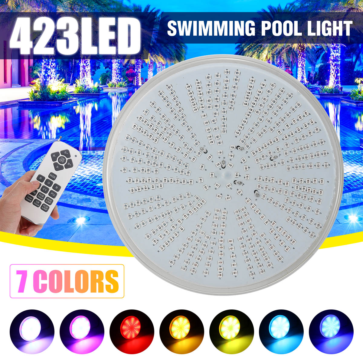 Led בריכת אור 423 נוריות AC/DC12V RGB שרף החלפת PAR56 מנורת עמיד למים IP68 רב צבע 2m חוט מתחת למים אורות