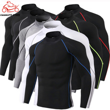 Mens motorcycle Sport Shirts Gym Fitness Compression Skinny t shirt Male Jogging Training Solid Tee Tops Crossfit Sportswear