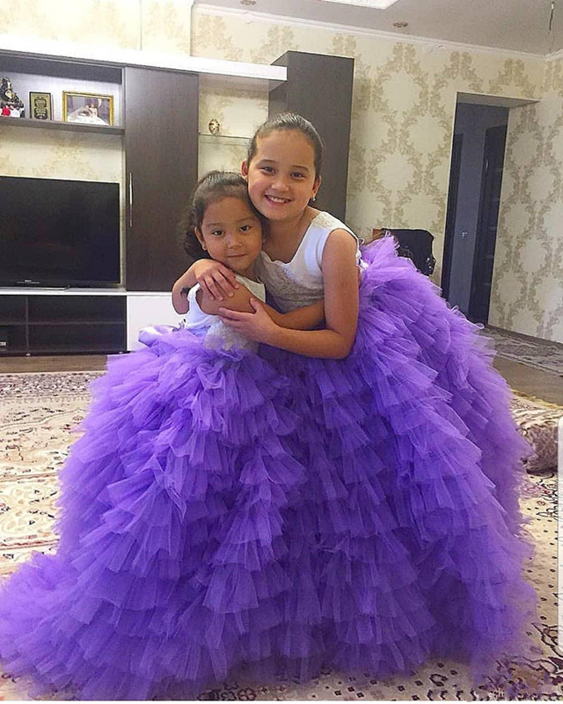 Customied   Girls   Prom   Dress   New Long Tiered Tulle   Flower     Girl     Dress   with Bow V-back For Wedding New Arrivals Vestidos De Fiesta