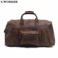Men's Genuine Leather Travel Bag Large Capacity Cowhide Trip Travelling Handbags Male Designer Vintage Duffle Shoe Shoulder Bag