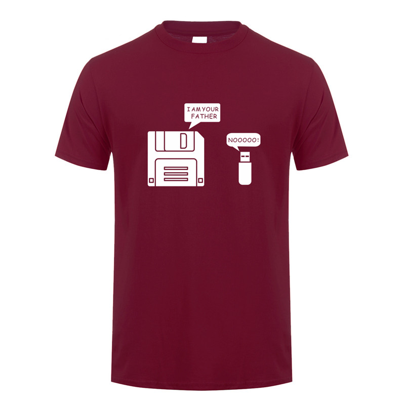 New USB Floppy Disk I Am Your Father T Shirt Men Cotton Short Sleeve Humor Disk T-shirt Casual Camisetas Hombre Mans OS-020