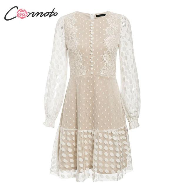 Conmoto Elegant White Mesh Party Dress Women  Autumn Winter  Short Polka Dot Lace Plus Size Dress Female Dress Vestidos 4
