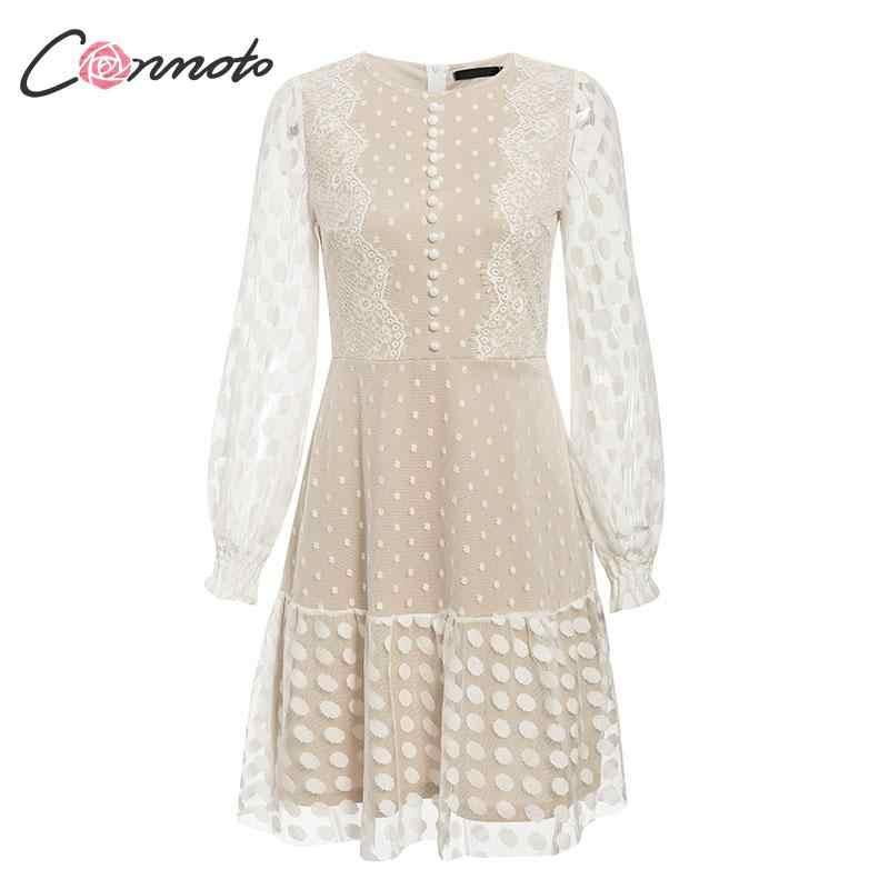 Conmoto Elegant White Mesh Party Dress Women  Autumn Winter  Short Polka Dot Lace Plus Size Dress Female Dress Vestidos