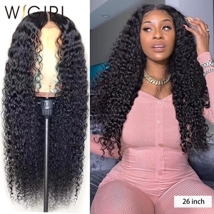 Wigirl Malaysian Curly 13x6 Lace Front Human Hair Wigs 28 30 Inch Deep Wave Long Frontal Wig For Black Women(China)