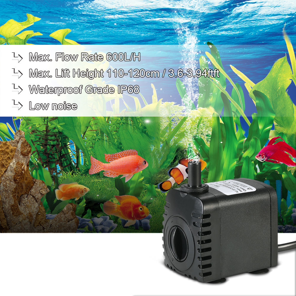 600L/H 8W Submersible Water Pump for Aquarium Tabletop Fountains Pond Water Gardens and Hydroponic Systems with 2 Nozzles