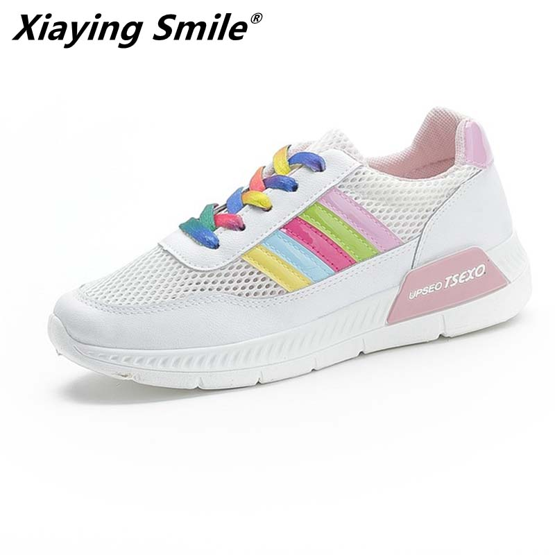 Xiaying Smile 2019 Autumn new shoes sneakers women walking shoes breathable sport lace up women White shoes for lady student 白 スニーカー レディース 2019