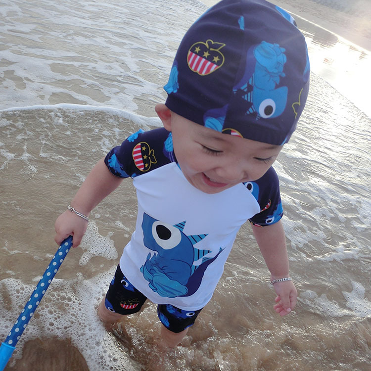 1-2-3-4-5-6-7-8-Year-Old 9 Young CHILDREN'S Split Type Swimsuit Boy Young STUDENT'S Baby Surfing Swimming Trunks