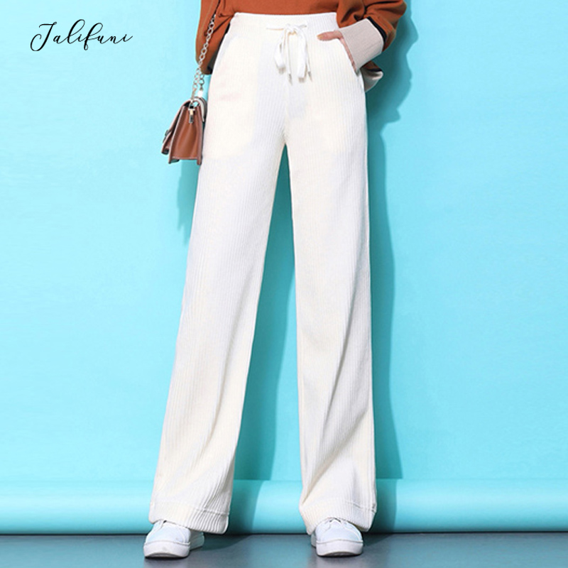 Women Loose Wide Leg Pants 2020 Spring Corduroy Trousers Solid Straight Pants Streetwear Drawstring Empire Waist Pants Plus Size