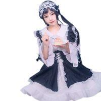 Women Girls Gothic Lolita Cosplay Maid Costumes Set Long Sleeve Bowknot Dress