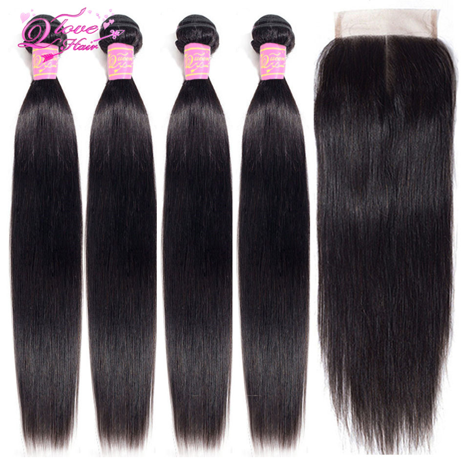 Queen Love Hair Peruvian Straight Hair Bundles With Closure Human Hair Bundles With Closure Non-Remy Hair Extension Lace Closure