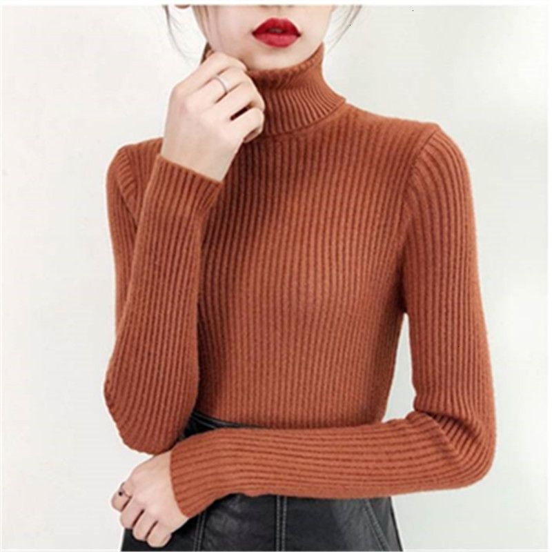 Korea Turtleneck Slim Solid All Match Fashion Warm Knitted Sweater Pullover Autumn Knitwear Sueter Mujer Long Sleeve Women New