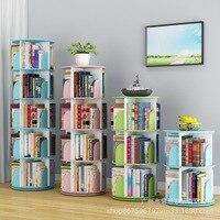 Simple 360 degree rotating bookshelf shelf children's picture frame student's simple book cabinet shelf organizer
