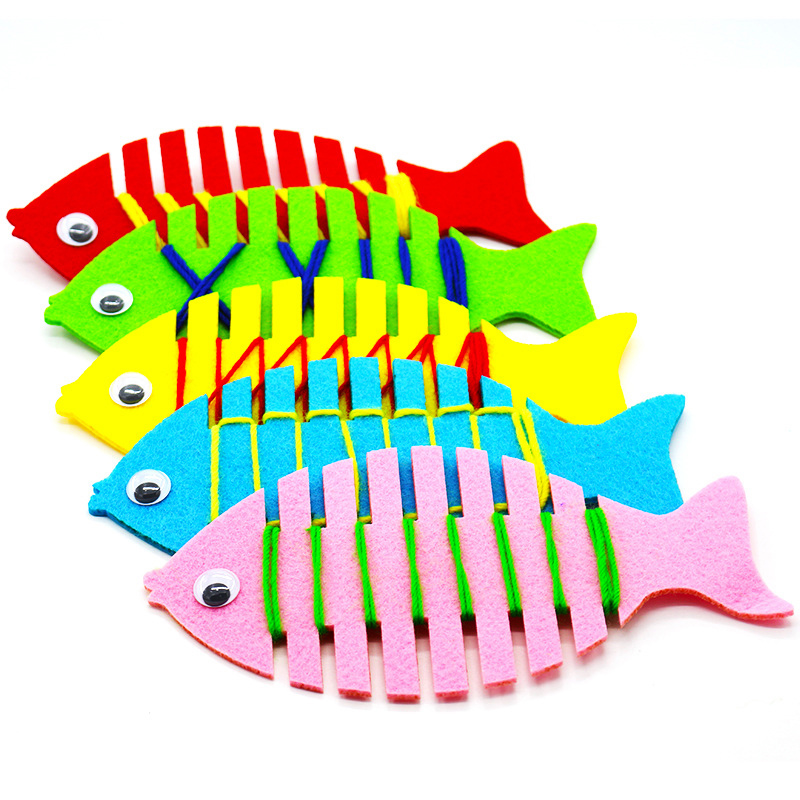 2pc Kindergarten Handmade DIY Fish String Line Winding Toys Fish Wrapping Thread  Children Creativity Educational Learning Toys