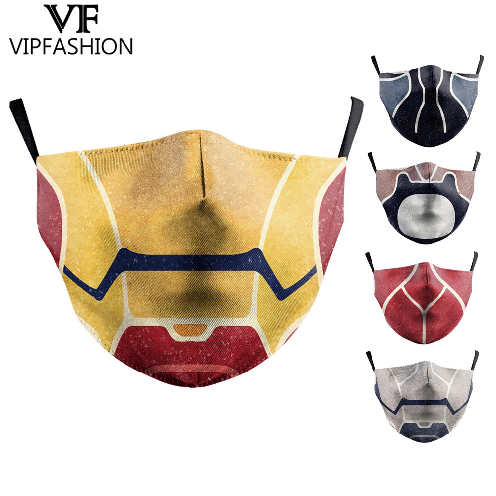 VIP FASHAION Reusable Protective PM2.5 Unisex Adults Iron Man Printing Mouth Mask Windproof Mouth-muffle Bacteria Proof Flu Mask
