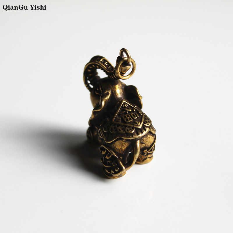 Cobre elefante auspicioso colgante llavero de latón Vintage Metal clave Animal cadenas llaveros con adornos colgantes llave anillos de joyería