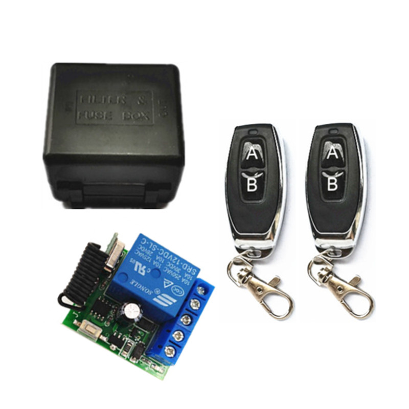 433Mhz Universal Wireless Remote Control Switch DC 12V 1CH relay Receiver Module and 2pcs RF Transmitter 433 Mhz Remote Controls image