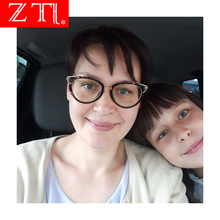 ZT Alloy Frame Cat Eye Eyeglasses Women Retro Myopia Glasses for Female Clear Uv400