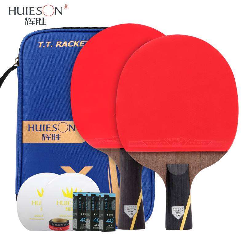 Huieson New 6 Star Table Tennis Racket Set Carbon Fiber Blade Ping Pong Racket Bat With Cover Table Tennis Accessories Balls