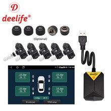 Deelife Reproductor de DVD y radio de coche, sistema reproductor de multimedia con supervisión de presión de neumáticos, neumático de repuesto, sensor externo e interno, conexión USB TMPS para vehículo