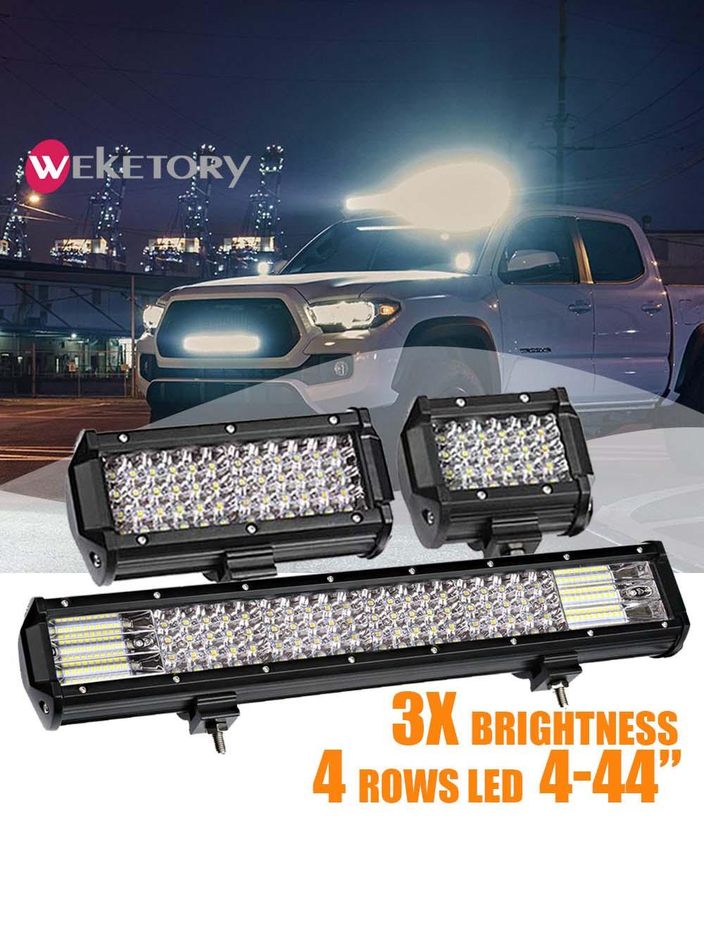 Led Bar Lights For Trucks   Weketory Quad Rows 4   44 Inch LED Bar LED Light Bar For Car Tractor Boat OffRoad Off Road 4WD 4×4 Truck SUV ATV Driving 12V 24V