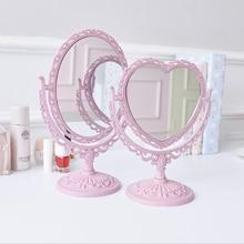 Мультфильм милый ретро любовь стол зеркало для макияжа девушка-мечта в форме сердца вращая DIY туалетный косметический