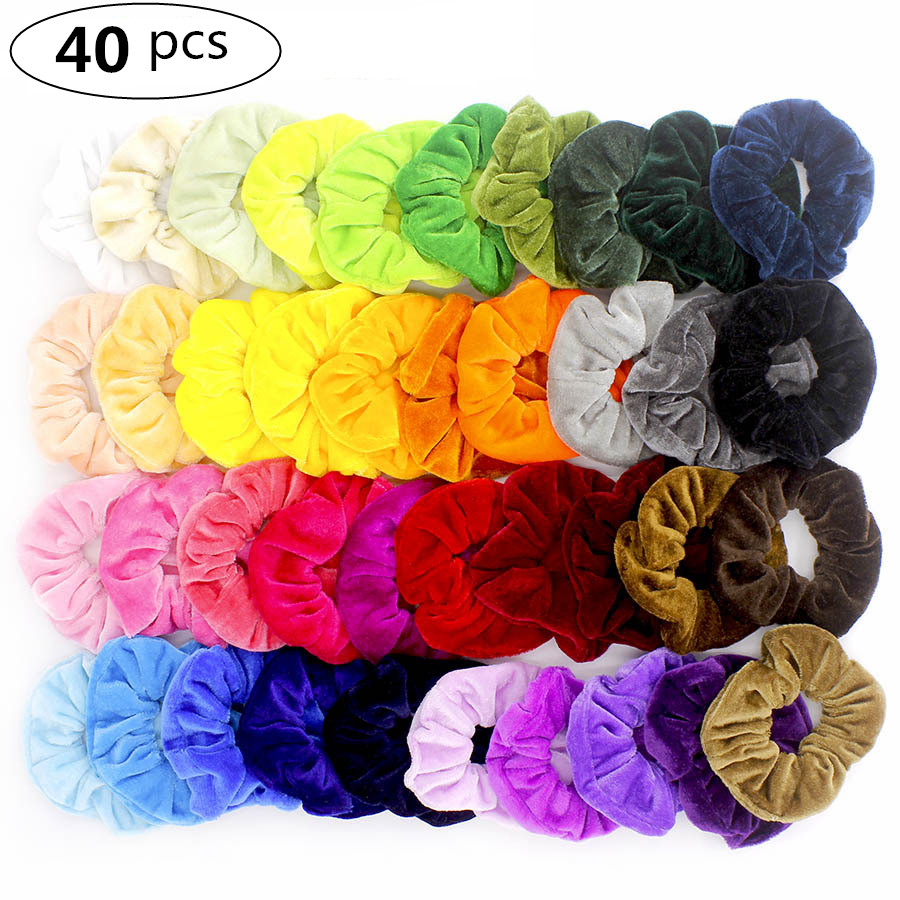 20/40 Pcs/Set Vintage Hair Scrunchies Stretchy Velvet Scrunchie Pack Women Elastic Hair Bands Girl Headwear Rubber Hair Ties