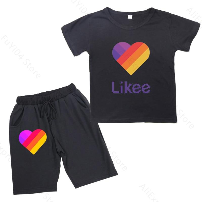 2020 new likee 2pcs kid boy girl t shirt clothing set brand