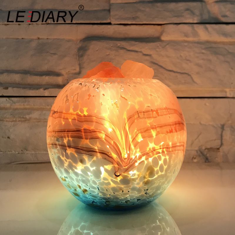 LEDIARY USB Dimming Salt Lamp Lava Lamp Natural Himalayan Air Bedroom Purifier Colorful Lighting Aroma Table Lamp Christmas Gift